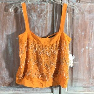 NWT orange pearl sequin cropped tank bling orange
